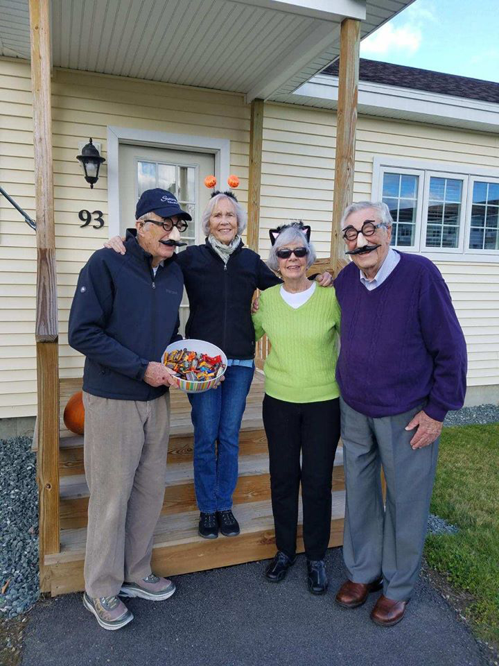 Four residents dressed up for Halloween